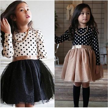 Long Sleeves Girl Dress Autumn Black White Dot Dresses For Girls Kids Children School Clothes Toddler Dresses Baby Clothes 2-7T