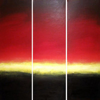 "EXTRA LARGE WALL art triptych 3 panel wall contemporary art ""Sunset Dream"" canvas wall original painting abstract canvas wall kunst 48 x 48"""