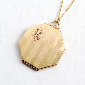 Antique Monogrammed Locket Necklace - Gold Filled 1930s Art Deco Octagon Initailed ALC Jewelry