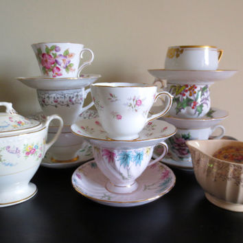 Set of Mismatched Teacup and Saucer Sets w/ Cream and Sugar.  Instant Tea Party.  Tea Party.  Bridal Shower.  Set of 8.