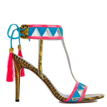 Sam Edelman Sadie Blue Gold Bright Neon T-Strap Heeled Tassel Sandals