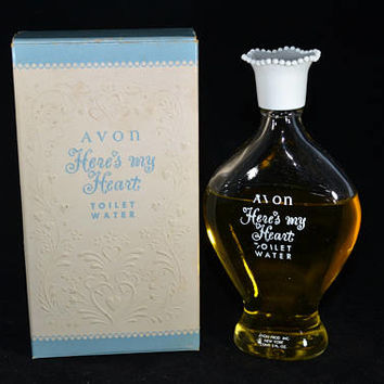 Vintage 50s 60s Avon Heres My Heart Toilet Water Glass Bottle Collectible New Old Stock w Box