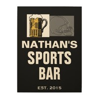 18 X 24 PERSONALIZED SPORTS BAR MAN CAVE WOOD SIGN WOOD WALL ART