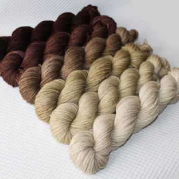 Gradient    Yarn Set- Hand dyed Superwash  sock yarn  in Сappuccino