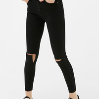 Skinny Fit cropped jeans with knee slits - Jeans - Bershka United Kingdom