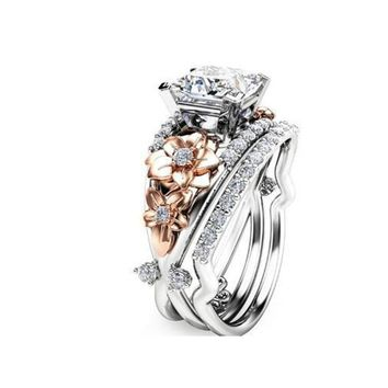 Luxury CZ Crystal Engagement Rings for Women Wedding Party Vintage Silver / Rose Gold Color Carved Flower Charms Rings Jewelry