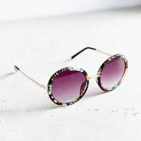 Jessa Floral Round Sunglasses- Black Multi One