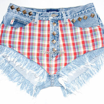 Limited Edition High Waisted Denim Shorts, Vintage Plaid High Waisted Studded Shorts, Levi Vintage Denim Shorts, Plus Size Denim Shorts
