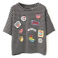 ROMWE Letters Appliqued Striped Black T-shirt