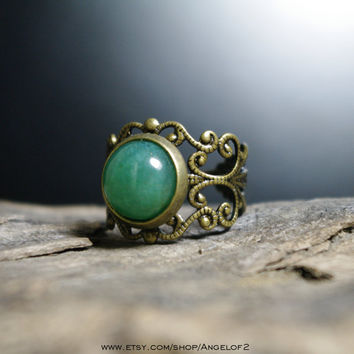 Green Aventurine Petite Cabochon Filigree Lace Ring -     Adjustable Band