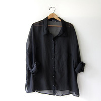 Vintage 90s Oversized Shirt. Black Sheer button down top. Oversized button up blouse. Tunic top. Chic Modern minimalist.