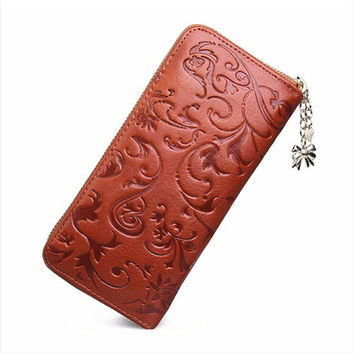 Miumofox Floral Genuine Leather Coin Purses For Women