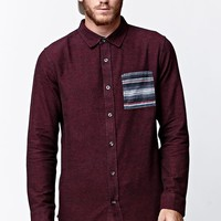 On The Byas Southwest Pocket Long Sleeve Button Up Shirt - Mens Shirt - Red