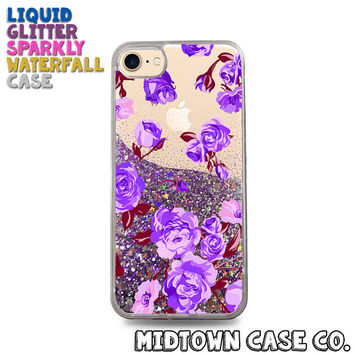 Purple & Pink Roses Vintage Floral Pattern Cute Liquid Glitter Waterfall Quicksand Sparkles Glitter Bomb Bling Case for iPhone 7 7 Plus 6s 6