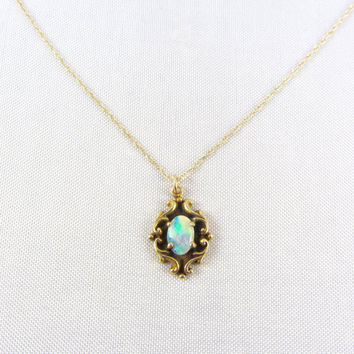 Vintage 14K Gold Opal Pendant Necklace, Art Deco Era Victorian Revival Pendant Charm, October Birthstone Yellow Gold Fine Jewelry