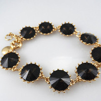 J Crew Style Inspired Vintage Black Crystal Bracelet Wedding Party Bridal Statement gold Bracelet girls bracelet/ Fashion Trends