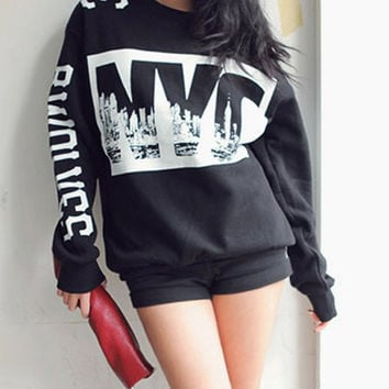 Black Letter Print Long Sleeve Sweatshirt