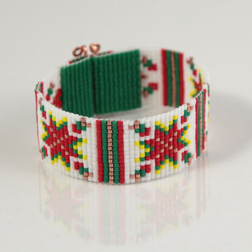 Christmas Quilt Beaded Cuff Bracelet - Native American Inspired - Bead Loom - Southwestern - Western Jewelry - Bohemian - Holiday - Stocking