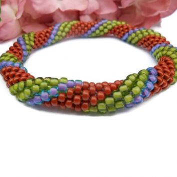 Crochet Bead Bangle Bracelet Green Purple Mahogany
