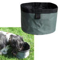 Evelots Travel Folding Collapsible Pet Bowl For Food & Water, Dog & Cats, Green