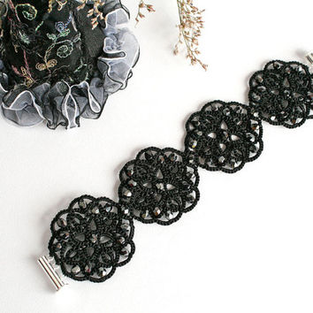 Black lace bracelet Night, tatted bracelet, black bracelet, cuff bracelet, wide bracelet, lace jewelry, statement jewelry, tatting jewelry.