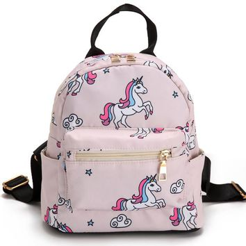 Fashion 2018 New Unicorn Printed School Backpacks For Teenager Girls Small Travel Bags Kawaii Pony Mochila Escolar