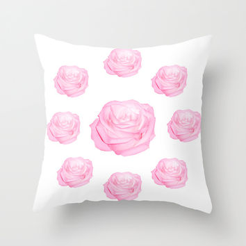 Pastel Pink Roses Throw Pillow by Laureenr