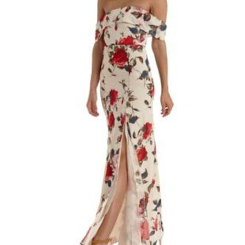 Floral Chiffon Off-the-Shoulder Maxi Dress