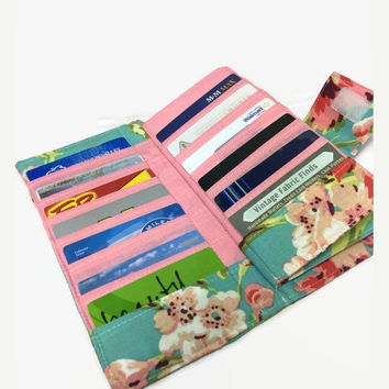 Credit Card Holder, Women's Card Wallet, Bifold Card Holder, 38 Credit Card Holder, Loyalty Card Organizer, floral Card Wallet,