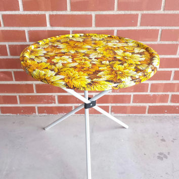 Vintage Metal Round Patio Side Table, Glamping, Camping, Patio Furniture, Aluminum Folding Table, Mid Century, Retro, Flowers, Glamper, RV