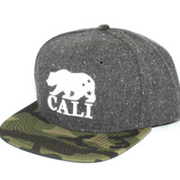 123SNAPBACKS Cali Bears Powder HatGreyCamo