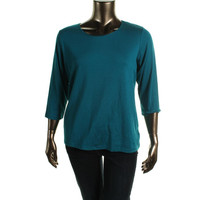 JM Collection Womens Plus Ribbed Knit Solid Pullover Top