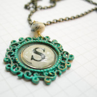 Personalized Necklace - Typewriter  Initial on a Hand Finished Patina Pendant