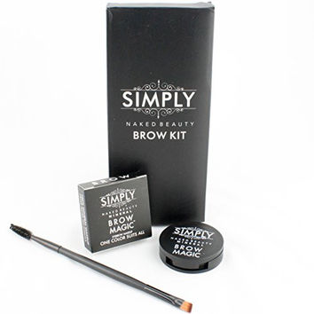 Eyebrow Kit Brow Magic with Brow Brush and Mineral Makeup Eyebrow Color. One Perfect Shade for Every Person. Achieve Your Best Eyebrow Shapes. Brow Wax, Cream Powder Base. Smooth Application - Cosmetic Must. Waterproof *Smudge Proof* Lasts All Day.