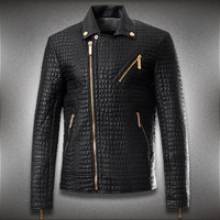 Men's Crocodile Style Leather Motorcycle Fashion Slim Fit Jacket