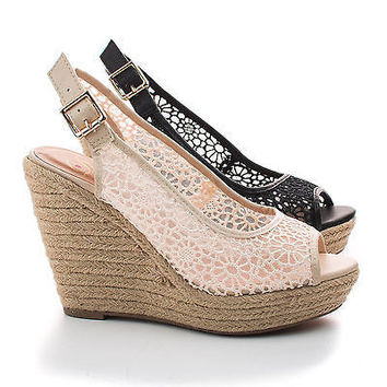 Henna Lt Taupe Fabric by Delicious, Peep Toe Flower Lace Sling back High Wedge Espadrille Sandals