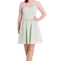 Hell Bunny Alice Mint Green Gingham Check Sheer Top Party Dress