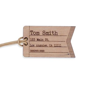 Custom Leather and Wood Luggage Tag Suitcase Travel Identification Tag
