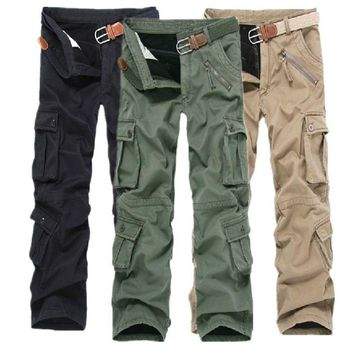 High quality Winter Men Casual multi pocket Military thicken Fleece Pants Male Cargo Trousers Loose thermal Warm pants 101404