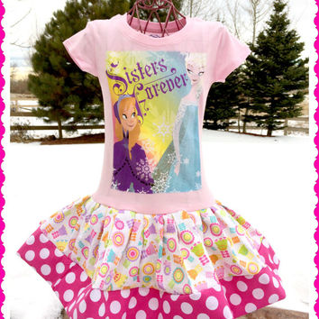 girls FROZEN Princess Anna Elsa Sisters Forever Disney fabric twirl party Dress layers of ruffle size 4/5 6/6X 7/8 10/12