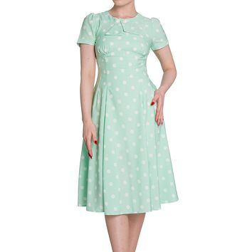 Hell Bunny 50's Retro Mod Mint Green Madden Polka Dot Dress