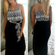 Off The Coast Off White Printed Black Skirt Maxi Dress