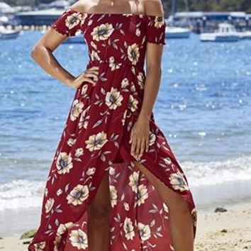 Blossoming Romance Red Ivory Blue Floral Short Sleeve Smocked Off The Shoulder Split High Low Casual Maxi Dress