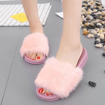 Fluffy Faux Fur Slipper