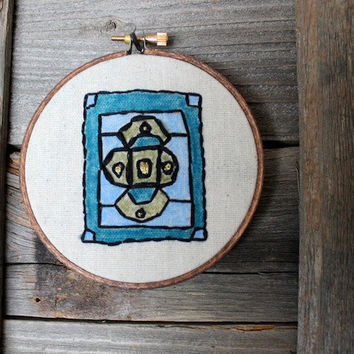 Metallic Blue Green Rustic Decor Embroidery - 4 inch hoop art with oil pastels- Mexican Talavera - Hand stitched - original design - rustic
