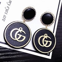 GUCCI Stylish Exaggerated Long Style Simple Letters GG Circular Earrings Black I12616-1