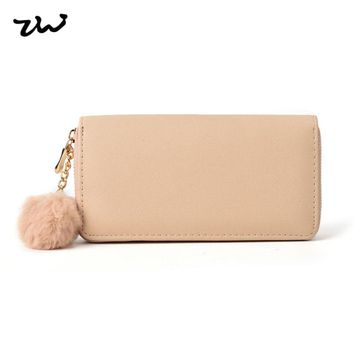2017 ZIWI Women Wallet Long Purse  Pu Leather Solid Color Zipper Closure  With Plush Hydrangea  Fashion Bags High QualiityLBQ461