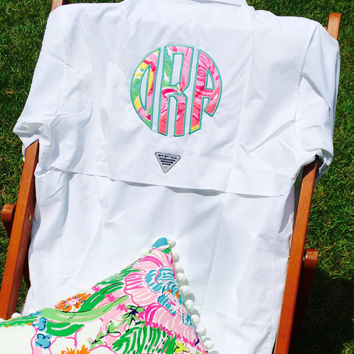 White Monogrammed Columbia PFG Fishing Shirt Cover Up with Lilly Pulitzer Monogram