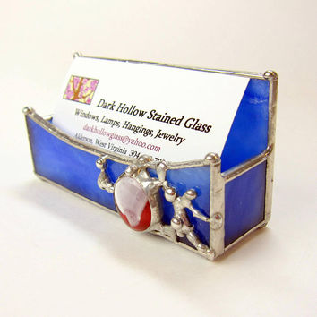 Blue Stained Glass Business Card Holder with Red and White Cabochon and Decorative Soldering Desk Decor