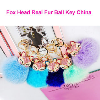 Sexy Fox Rhinestone plush pom handmade Cute fur ball key chain keychain for women bag handbag wallet phone car bag charm